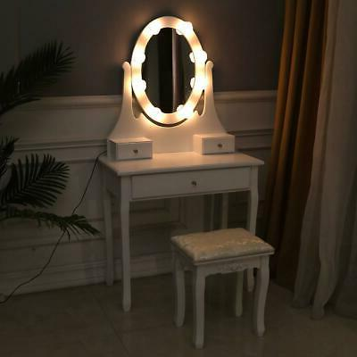 vanity set with lighted oval mirror makeup