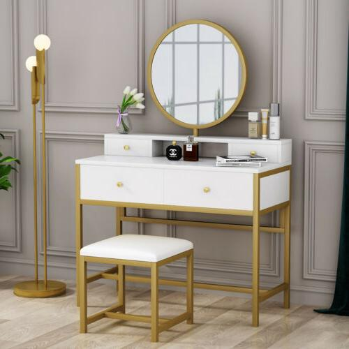 4 Storage Dressing Table with Round Set