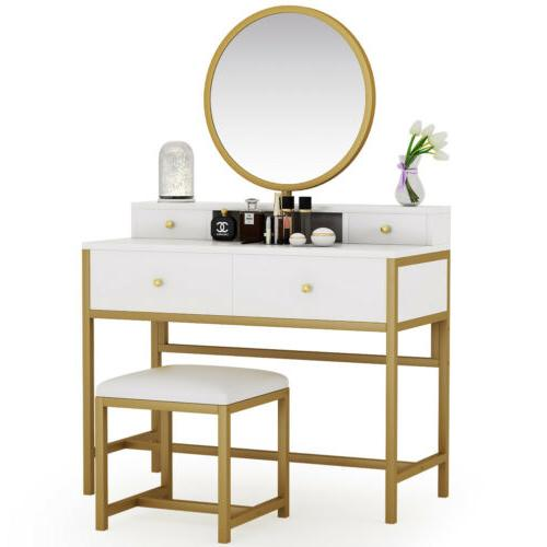 4 storage drawers dressing table with round
