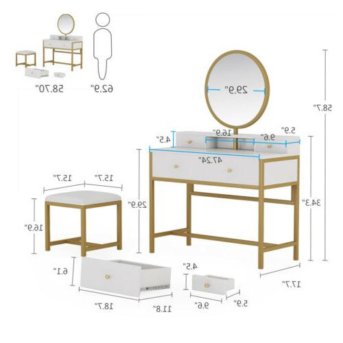 4 Storage Drawers Table with Round Mirror and Bench Makeup Set