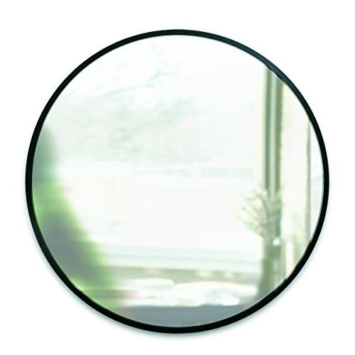 Umbra Hub Wall With Frame 24-Inch Round Wall Mirror for Living Rooms and More, Doubles as Black