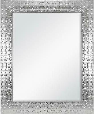 Wall Mirror Vanity Bathroom Silver Bedroom Decor Tile Bevele