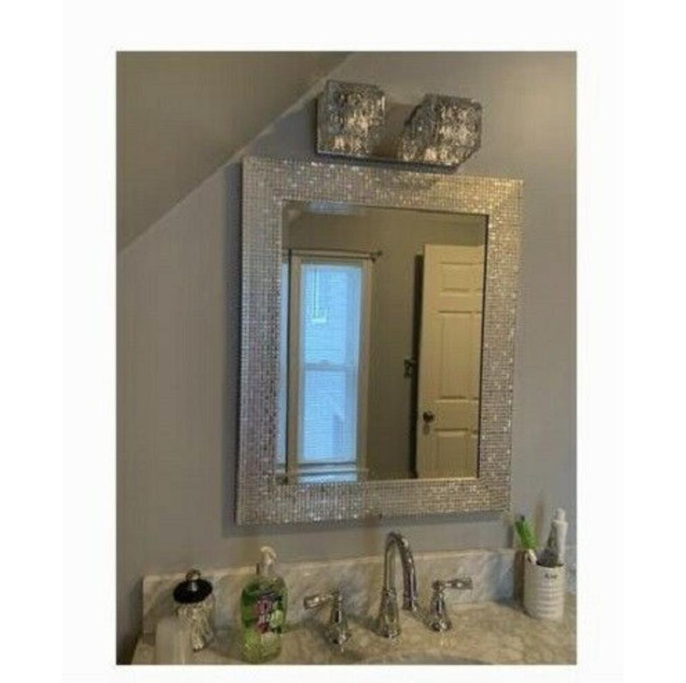 Wall Mirror Silver Bedroom Decor Beveled Glass