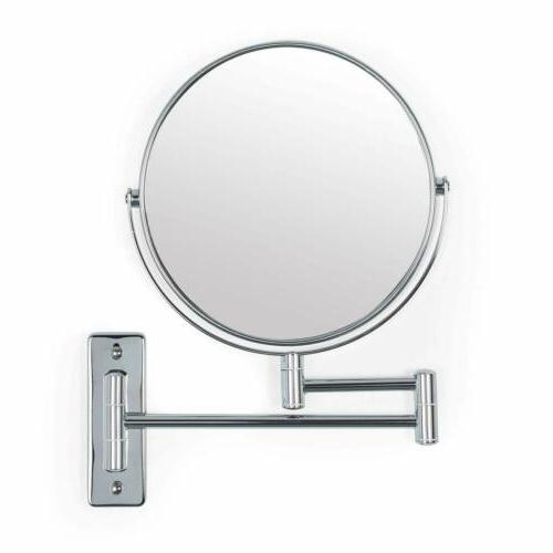 wall mount mirror folding arm chrome double