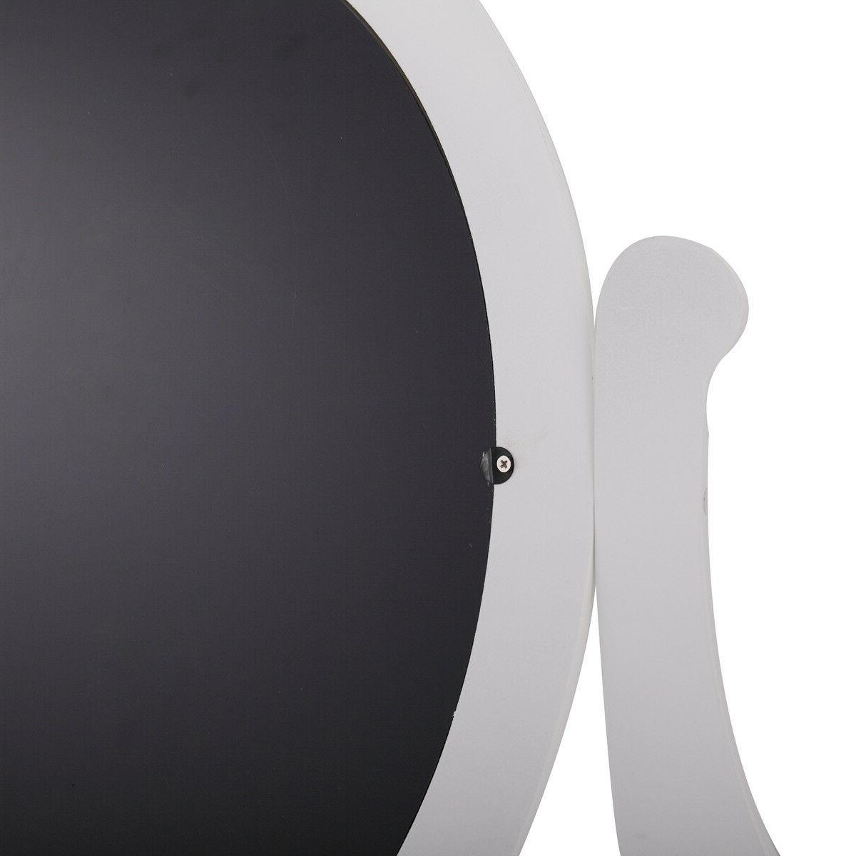 White Finish Wood Dressing Vanity with and Oval Mirror