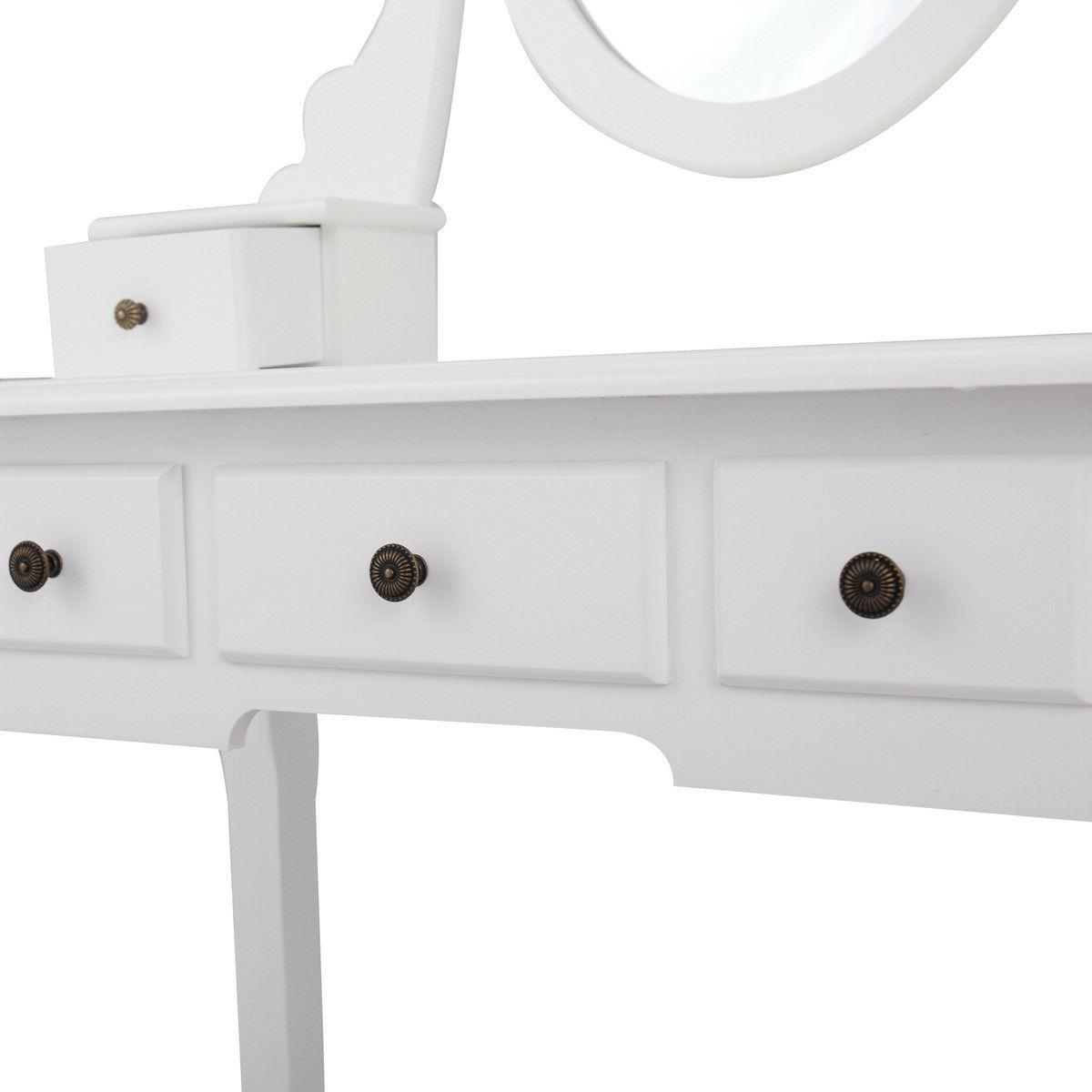 White Finish Makeup Dressing Vanity with and Mirror