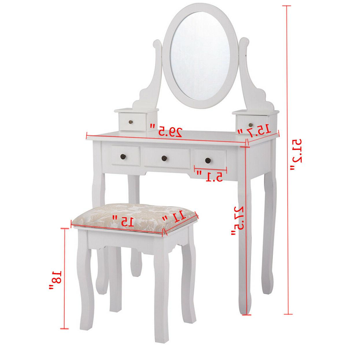 Dressing Table Vanity with Stool and Oval Mirror