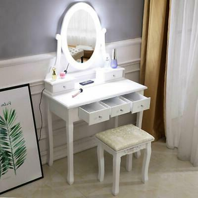 Makeup Dressing Table Vanity Set With Mirror 10 Led Lights f
