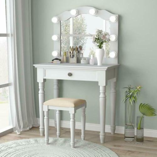 white makeup vanity table set with 8