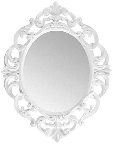white oval vintage wall mirror