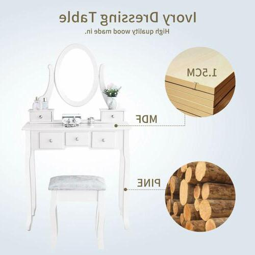 White Set With Stool 5 Drawers Bedroom