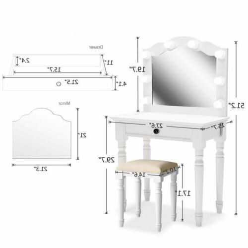 White Set with Lighted Mirror & Stool Drawer Table