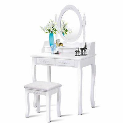 White Wood Makeup Dressing Table Stool Bathroom with