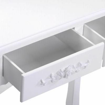 White Vanity Dressing Table Stool Bathroom with Mirror