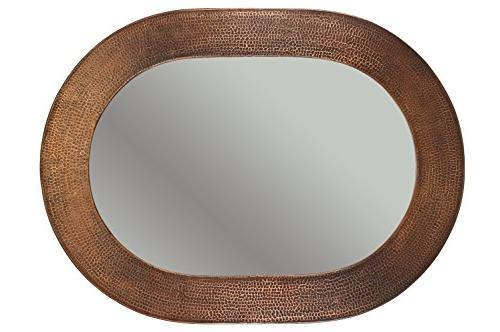 35 H 26 W Hammered Copper Mirror, Traditional, /