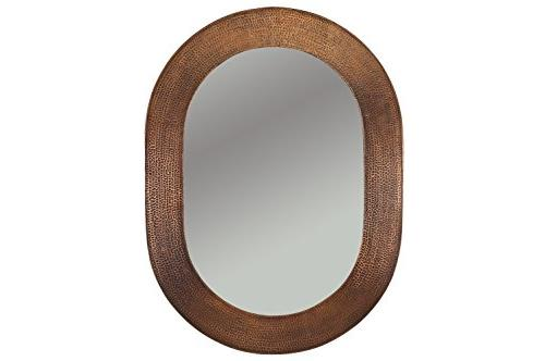 35 W Hammered Copper Mirror, Traditional, Wood Metal Combo, Bronze