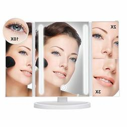 "Large 13X9"" Tri-Fold Lighted Vanity Makeup Mirror with 36 LE"