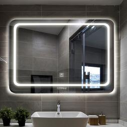 large led touch lighted bathroom vanity mirror