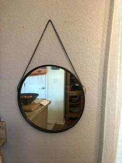 LARGE LODGE MIRROR 18.5 inches round hangs 30 inches FACTORY
