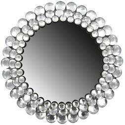 Large Round Clear Gemstone Elegant Crystal Accented Wall Mir