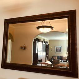 """Large Solid Wood """"43 x 31"""" Rectangle Beveled Framed Wall Mir"""