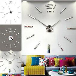 Large Wall Clock Big Watch Decal 3D Stickers Mirror Design D