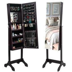 Lockable Full Length Mirror Jewelry Cabinet Dressing Mirror