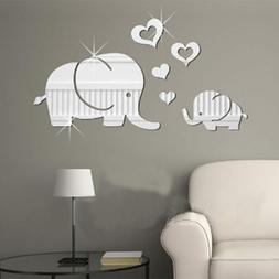 Love Heart Elephant 3D Acrylic Mirror Stickers Baby Nursery