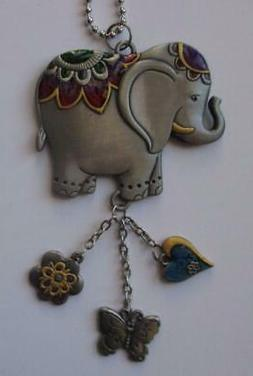 LUCKY ELEPHANT Color Art Ganz Car Charm & Chain for Rearview