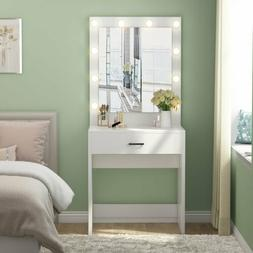 Makeup Led Lighted Vanity Table Set With Mirror and Drawer B
