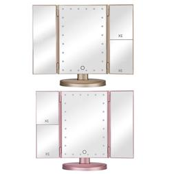Makeup Mirror Tri-Fold 24 LED Lighted Touch Screen 3X 2X 1X