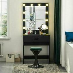 10 LED Lights Vanity Table Set with Lighted Mirror Makeup Dr
