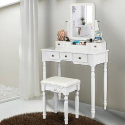 Makeup Vanity Table Set Mirror Dressing Table With 5 Drawers