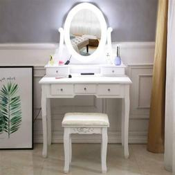 Makeup Vanity Table Set with 10LED Lights Bub Mirror and 5 D