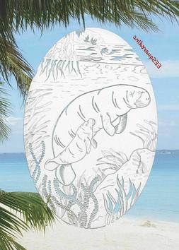Manatees OVAL Static Cling Window Decal 4x6 inch for Sliding