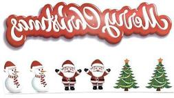MERRY CHRISTMAS Tree Santa Snowman Removable Decal Sticker S