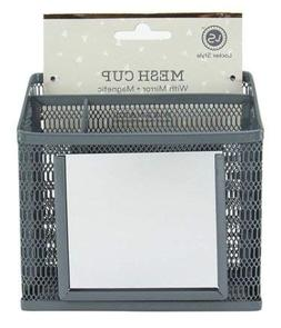 Locker Style Mesh Utility Cup with Mirror- Grey