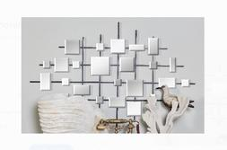 Metal and Mirror Abstract Wall Home Decor Hanging Canvas Mod