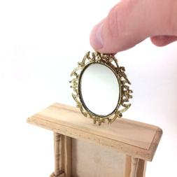 Miniature Wall Mirror with Gold Colored Frame for Dollhouse