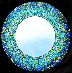 "Mirror ""Blue Splash"" mosaic glass hand crafted home decor 16"