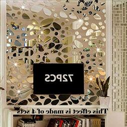 72PCS Silver Mirror Decals Acrylic Cobblestone Shape Wall St