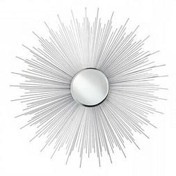Mirror Decor, Rustic Round Silver Rays Iron Frame Decorative