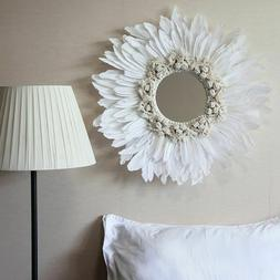 Mirror Modern Handmade Tapestry Feather Glass Wall Decorativ