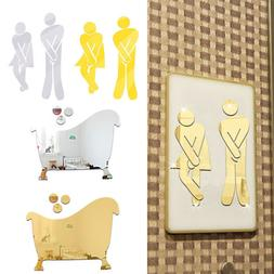 Mirror Wall Stickers 3D Acrylic Toilet Bathroom Sign For Hot