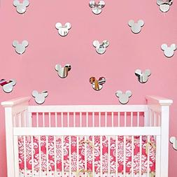 20PCS Of Mirror Wall Stickers Cute Mickey Mouse Crystal Mirr