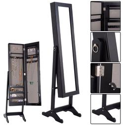 Mirrored Jewelry Black Wood Armoire Bejeweled Stand Up Organ