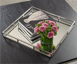 Beautiful Mirrored Tray With Chrome Rails, Elegant Square Va