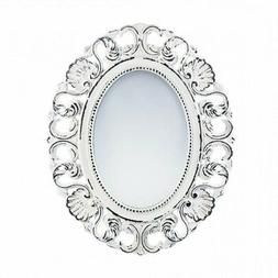 Mirrors For Wall Decor, Framed Oval Rustic Unique Off White