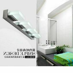 Modern Bathroom Vanity LED Light Crystal Front Mirror Toilet
