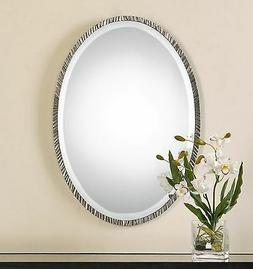 2 MODERN DESIGNER OVAL POLISHED NICKEL METAL FRAME BEVELED W